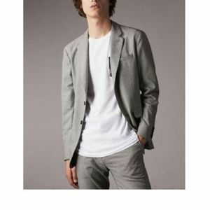 Burberry Micro Houndstooth CottonWool Blend Blazer